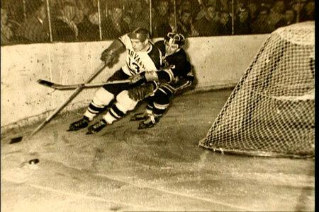 Gene behind the net at Boston Arena